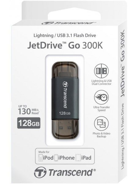 Transcend JetDrive Go 300 128GB, Lightning/USB 3.1 Black Transcend