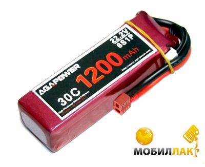 Aga Power Аккумулятор AGA POWER Li-Po 1200mAh 22.2V 6S 30C Softcase 26x34x105мм T-Plug (AGA30-1200-6S-S) MobilLuck.com.ua 600.000