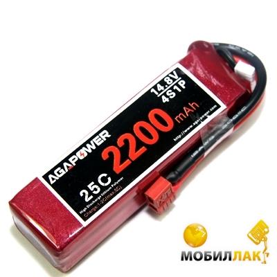 Aga Power Аккумулятор AGA POWER Li-Po 2200mAh 14.8V 4S 25C Softcase 35x34x110мм T-Plug (AGA25-2200-4S-S) MobilLuck.com.ua 467.000