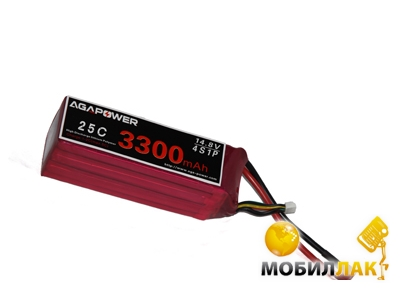 Aga Power Аккумулятор AGA POWER Li-Po 3300mAh 14.8V 4S 25C Softcase 26x34x134мм T-Plug (AGA25-3300-4S-S) MobilLuck.com.ua 726.000