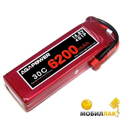 Aga Power Аккумулятор AGA POWER Li-Po 6200mAh 14.8V 4S 30C Softcase 36x49x156мм T-Plug (AGA30-6200-4S-S) MobilLuck.com.ua 1950.000