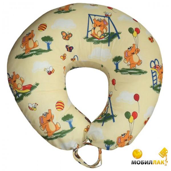 Малышастик Подушка для кормления Слоники на бежевом (улучшенная) (pod145) MobilLuck.com.ua 283.000