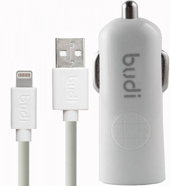 Budi Car charger White Led 1USB 2.4A + Lightning cable 1.2 m White Budi