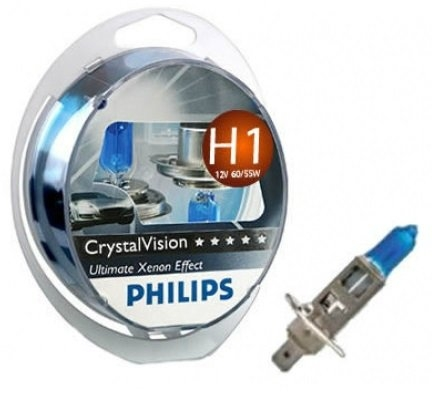 Автолампа Philips 12258CVSM H1 55W 12V P14,5s Cristal Vision W5Wx2