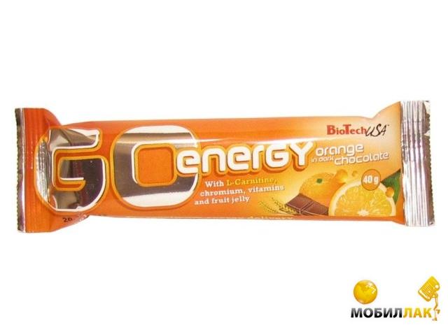 biotech BioTech Go Energy bar 40g 1/32 Orange in dark choco