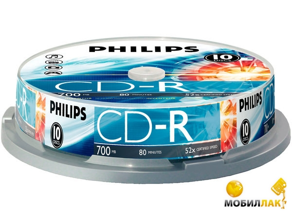 Philips CD-R 700MB/52x CakeBox 10 MobilLuck.com.ua 19.000
