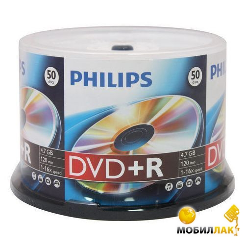Philips DVD+R 4.7GB 120min 16x CakeBox 50 MobilLuck.com.ua 19.000