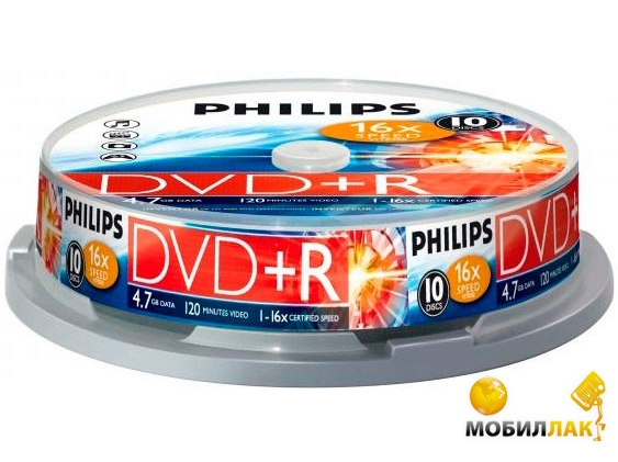 Philips DVD+R 4.7GB/16x CakeBox 10 MobilLuck.com.ua 19.000