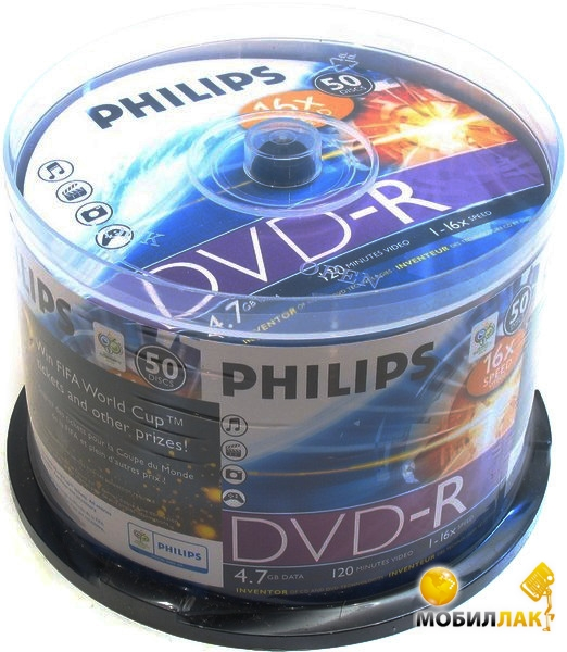 Philips DVD-R 4.7GB 120min 16x CakeBox 50 (5738438) MobilLuck.com.ua 19.000