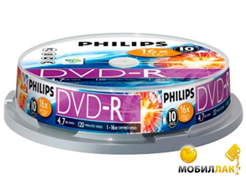 Philips DVD-R 4.7GB/16x CakeBox 10 MobilLuck.com.ua 19.000