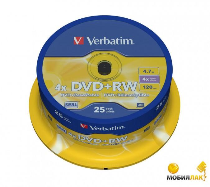 Диски Verbatim DVD+RW 4,7GB 4x Spindle Packaging 25шт (43489)