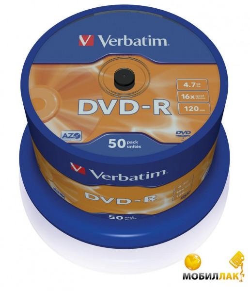 Диски Verbatim DVD-R 4,7GB 16x Spindle Packaging 50шт (43548)