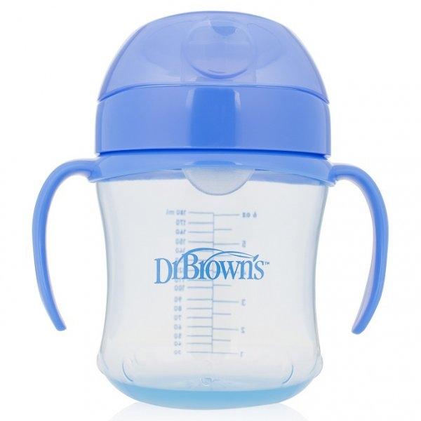 Dr. Brown`s Тренировочный поильник с мягким носиком 6 мплюс Голубой (61001) Dr. Brown`s