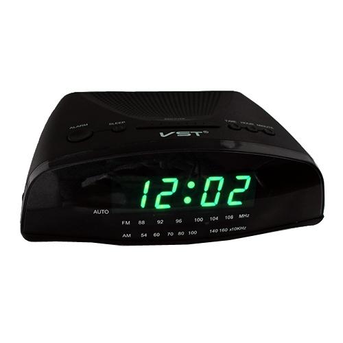 VST Часы сетевые 905-2 с радио зеленый (3224) VST