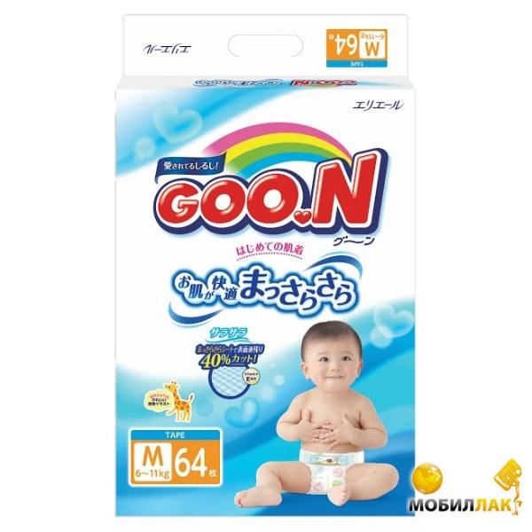 Goo.N для детей 6-11 кг (размер M, на липучках, унисекс, 64 шт) (753708) Goo.N