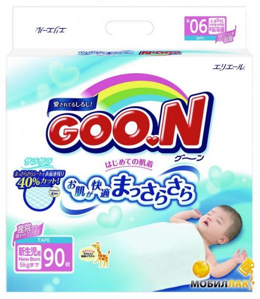 Goo.N для новорожденных до 5 кг (размер SS, на липучках, унисекс, 90 шт) (753706) Goo.N