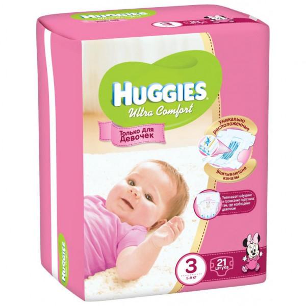 Подгузник Huggies Ultra Comfort для девочек 3 5-9кг 21шт (5029053543543)
