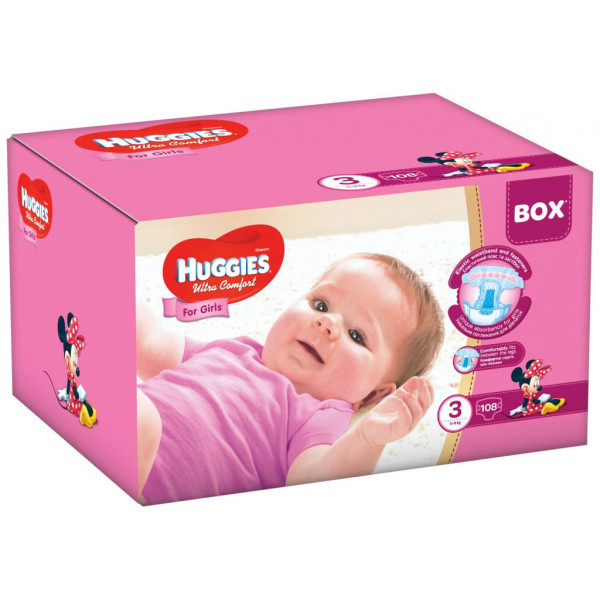1094a02690a5 Видеообзор и фото Подгузник Huggies Ultra Comfort 3 Box для девочек (5-9  кг) 108 шт (5029053565620). Купить Подгузник Huggies Ultra Comfort 3 Box  для ...