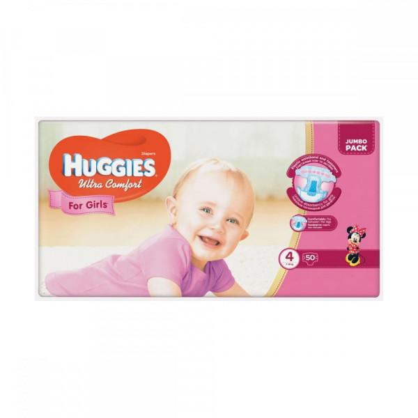 c492050cfca1 Видеообзор и фото Подгузник Huggies Ultra Comfort 4 Jumbo для девочек (7-16  кг) 50 шт (5029053565378). Купить Подгузник Huggies Ultra Comfort 4 Jumbo  для ...