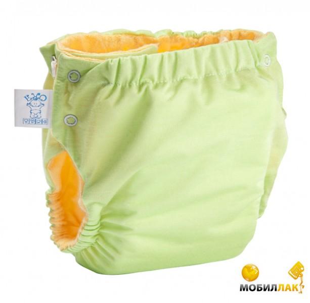 Эко-Пупс Многоразовые подгузники Непромокайка Premium S, M (3-9 кг) + 1 вкладыш, с карманом Зеленый Эко-Пупс
