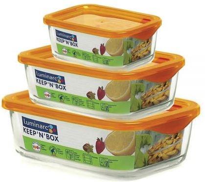 Набор пищевых контейнеров Luminarc KeepnBox J5102 Оранжевый (360мл, 370мл, 1890мл)