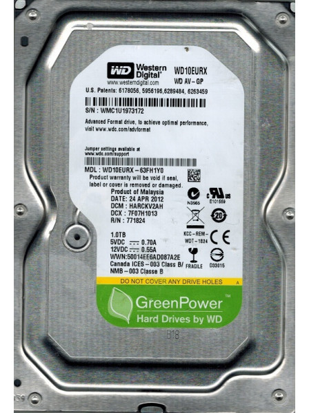 Western Digital 1TB 64Mb 7200rpm 3.5 SATAIII WD10EURX Refurbished Western Digital