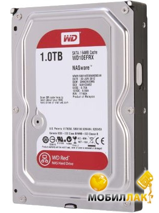 Western Digital 1TB 64MB 3.5 SATA 3.0 IntelliPower Red WD10EFRX Western Digital
