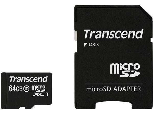 Карта памяти Transcend microSDXC 64GB Class 10 + adapter (TS64GUSDXC10)