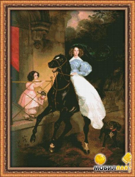 """Фотография копии (не оригинала) картины К.Брюллова  """"Всадница """".  Холст на подрамнике, масло, размер."""