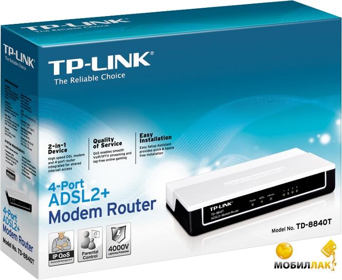 TP-Link TD-8840T ADSL2+ Router 4*10/100М Ethernet MobilLuck.com.ua 321.000
