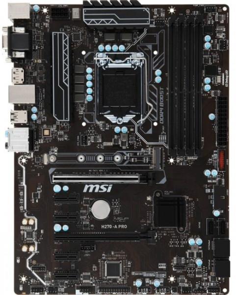 MSI H270-A Pro s1151 H270 4DDR4 DP-DVI-VGA M.2 Socket3 7xGPU Mining ATX MSI