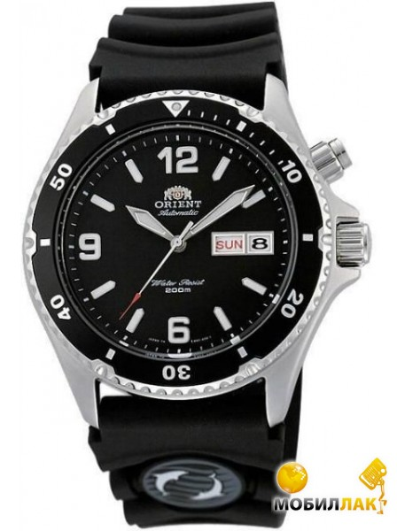 Часы Orient #FEM65004B Men s inchBack Makoinch 200M Automatic Diver Watch with Rubber Strap