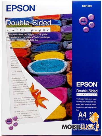 Epson A4 Double-Sided Matte Paper, 50л. (C13S041569) MobilLuck.com.ua 242.000