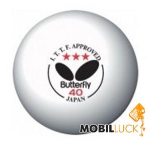 Butterfly 3-звезды ITTF 3 шт 40 мм (белый) MobilLuck.com.ua 90.000