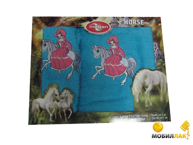 Megan вышивка с лошадкой 50Х90-70Х144 бирзовый (3333210000773) Megan