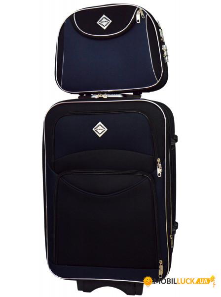 8a3db2cb501b Комплект чемодан + кейс Bonro Style (средний) черно-синий (10120206 ...