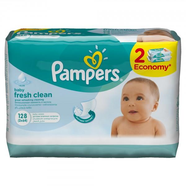 Детские влажные салфетки Pampers Baby Fresh Clean Duo 2х64 шт