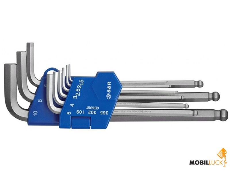 S&R Набор шестигранных ключей 9шт, 1,5-10мм (365302109) MobilLuck.com.ua 127.000