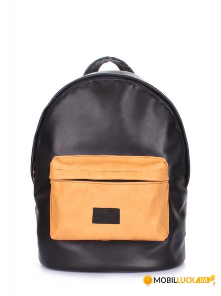 b17e16fdd7cf Рюкзак женский Poolparty Черный (backpack-pu-black-orange)