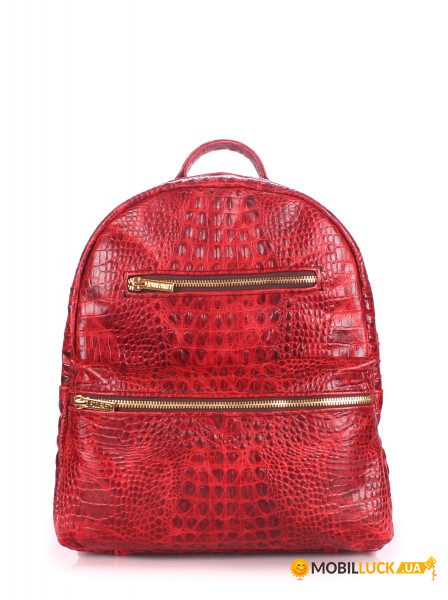 37ec22e38fae Фотография Рюкзак женский кожаный Poolparty Mini Красный  (mini-bckpck-leather-croco- ...