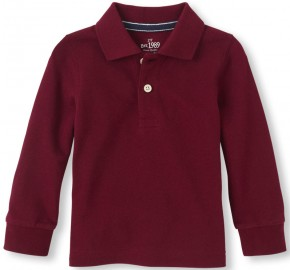 Фото Реглан-поло для мальчика Childrens Place Uniform Long Sleeve 9-12 мес (74-77см) Redwood