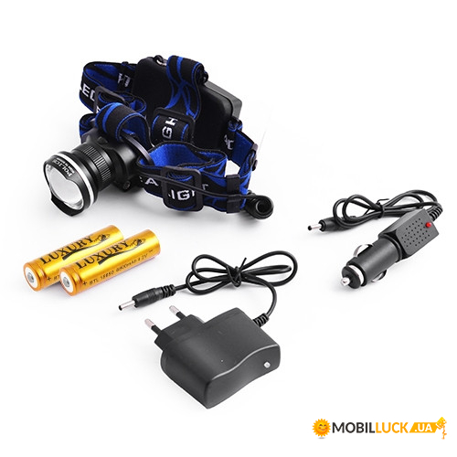 Фонарь налобный Police XQ-24-T6, 2x18650, ЗУ 220V/12V, signal light, zoom, Box Police 3794