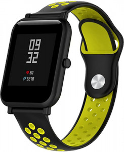 Ремешок UWatch Silicone Double color strap for Amazfit Bip Black/Yellow