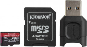 Карта памяти Kingston MicroSDXC 256GB UHS-II/U3 Class 10 Canvas React Plus R285/W165MB/s + SD-адаптер + USB-кардридер (MLPMR2/256GB)
