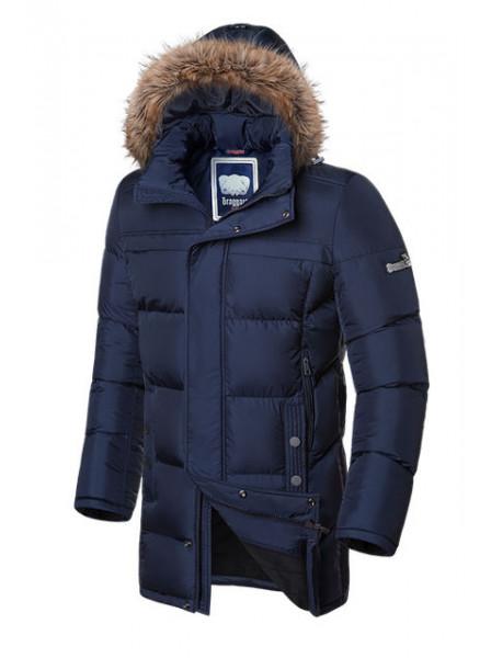Длинная куртка на меху Braggart 3226 46 (S) темно-синий