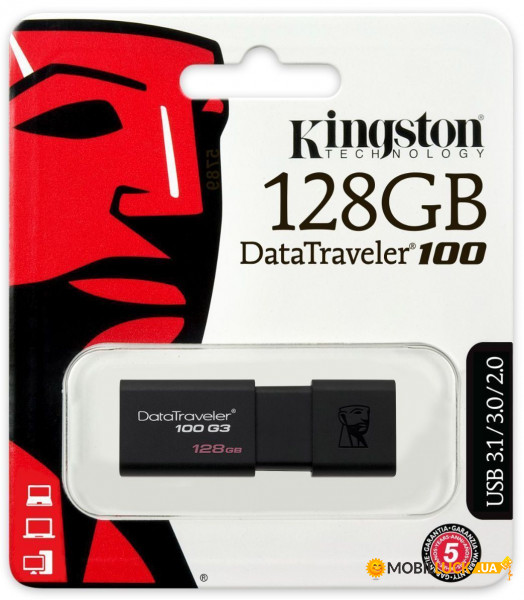 Флешка USB Kingston DataTraveler 100 G3 USB 3.0 128Gb Black