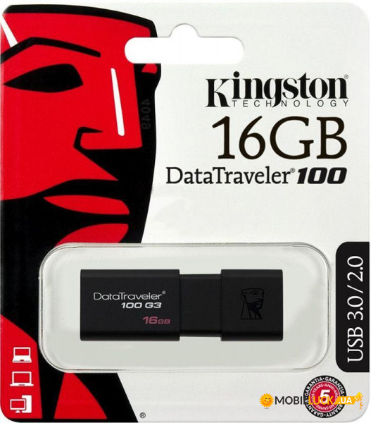 Флешка Kingston DataTraveler 100 G3 USB 3.0 16Gb Black