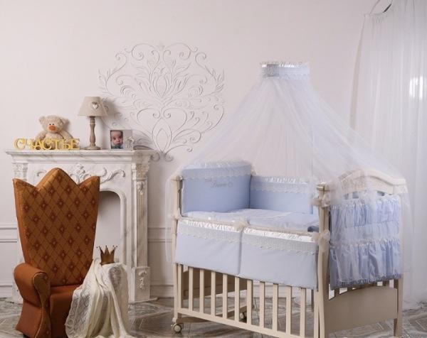 Детское постельное белье Маленькая Соня Принц голубой 7 пр (11107)