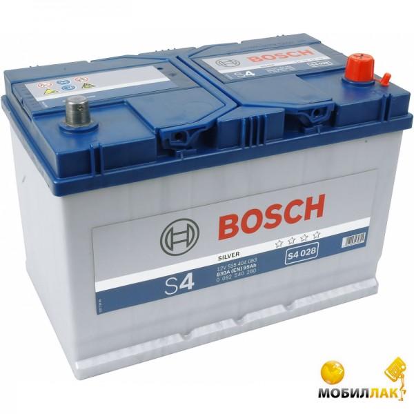 Аккумулятор автомобильный Bosch S4 Silver S4028 12v R EN830 95Ah