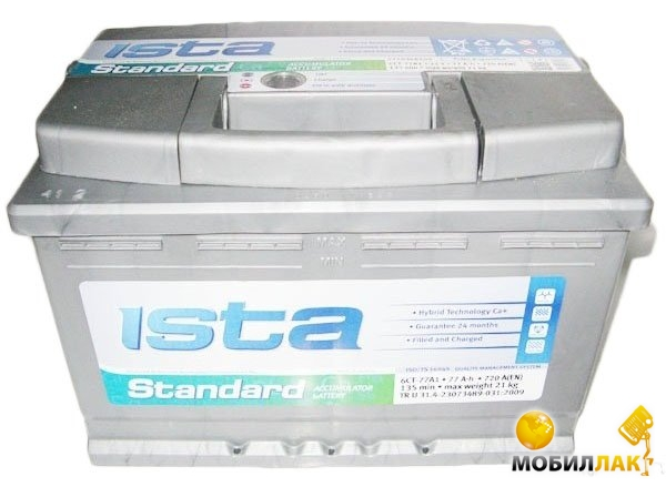 Аккумулятор автомобильный Ista Standard 6СТ-77 А1 Eвро
